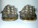 click to view detailed description of A Pair of BRADLEY & HUBBARD Antique Bookends Depicting the Ship