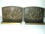 click to view detailed description of A Rare Pair of BRADLEY & HUBBARD War of 1812 Naval Battle Antique Bronze Bookends