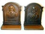 click to view detailed description of A Pair of Antique Bookends by BRADLEY & HUBBARD Featuring Shakespeare and Longfellow circa 1910