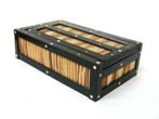 click to view detailed description of A fine set of 19th century Bone and Ebony Dominoes in a Rare Ebony and Porcupine Quill Box circa 1870.