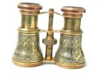 click to view detailed description of A Fine Pair of English Brass and Silver Inlaid Binoculars circa 1875