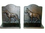 click to view detailed description of A Pair of Antique Bookends in the form of a German Shepard by Bradley & Hubbard circa 1920