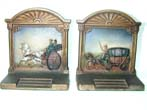 click to view detailed description of A Good Pair of Bradley & Hubbard Antique Coaching Bookends circa 1920