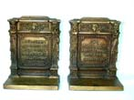 click to view detailed description of A Pair of Bradley & Hubbard Antique Bookends with Quotations from Shakespeare Circa 1910