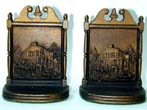 click to view detailed description of A Pair of Bradley & Hubbard Antique Bookends circa 1920 Depicting a Dutch Colonial Home