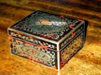 click to view detailed description of A Fine Small English Victorian Boule Box signed