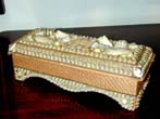 click to view detailed description of A Victorian Shellwork Ladies Glove Box circa 1895