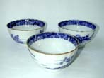 click to view detailed description of A rare group of three 18th century fluted Chinese Export Porcelain Tea Bowls with gilt highlights circa 1785