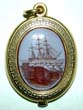 click to view detailed description of A Fine 19th century English Gold Locket with Beautiful Carved Intaglio of a Ship circa 1870
