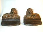 click to view detailed description of A Pair An Antique Lion Bookends by BRADLEY & HUBBARD circa 1900