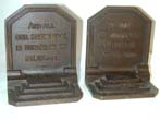 click to view detailed description of A Pair of Antique Bookends by Bradley & Hubbard Featuring Quotes by Pope and Young circa 1920