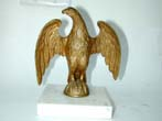click to view detailed description of An Antique Gilt Brass Eagle Flag Pole Mount on marble base circa 1890-1915