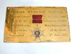 click to view detailed description of A Rare and Historic Westminster Abbey Stall Plate of Lt. Col. Michael McCreagh, Companion of the Military Order of the Bath, Nominated June 4, 1815.