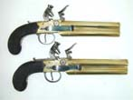 click to view detailed description of A Fine and Rare Pair of English Flintlock Double-Brass Barrelled (Over & Under) Naval Boarding Pistols circa 1805