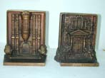 click to view detailed description of A Fine Pair of Bradley & Hubbard Antique Bookends depicting Mt. Pleasant and Bramshill, circa 1920