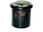 click to view detailed description of A Tortoiseshell Toiletry Jar with Silver Gilt Decoration to the Lid, London, 1901.