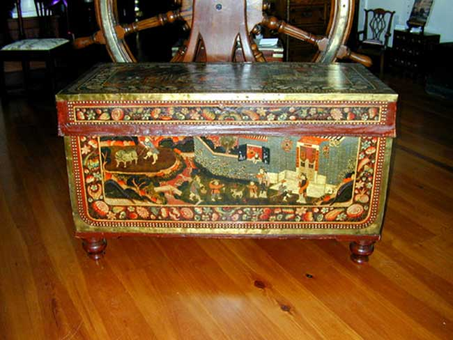 click to view detailed description of A Magnificent Early 19th Century Painted China Trade Trunk Circa 1830